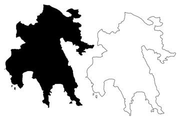 Peloponnese Region (Greece, Hellenic Republic, Hellas) map vector illustration, scribble sketch Peloponnese map