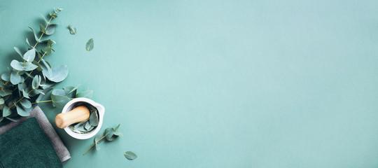 Liście eukaliptusa i biały moździerz, tłuczek. Składniki medycyny alternatywnej i kosmetyków naturalnych. Piękno, koncepcja spa