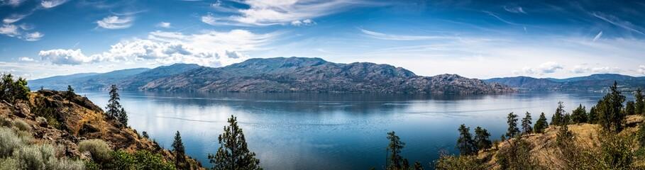 Panoramic View of Okanagan Lake from Knox Mountain Park located at Kelowna British Columbia Canada