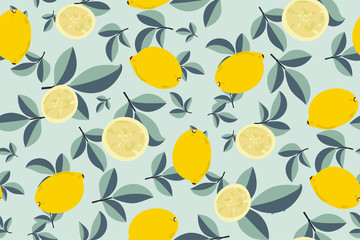 Tropical seamless pattern with yellow lemons. Fruit repeated background. Vector bright print for fabric or wallpaper. Hand drawing illustration in pastel colours. Perfect design