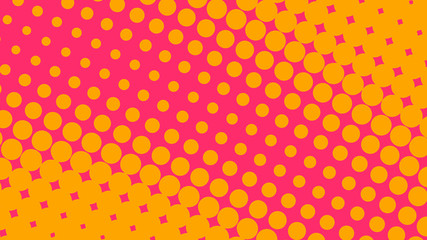 Orange and magenta pop art background in retro comic style with halftone dots design isolated