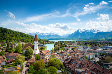 Panorama of Thun city  in the canton of Bern with Alps and Thunersee lake, Switzerland.