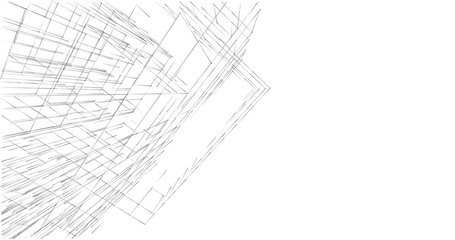 Architectural drawings 3d illustration