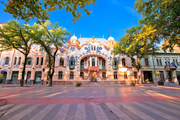 Subotica colorful street architecture view