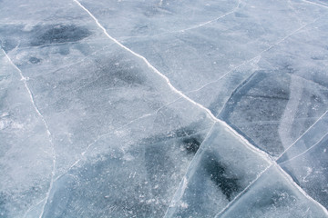 Texture of ice in frozen lake at Lake Baikal, Russia