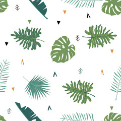 Cute safari background with leaves.Vector illustration seamless pattern for background,wallpaper,frabic.include wording wild and free.Editable element