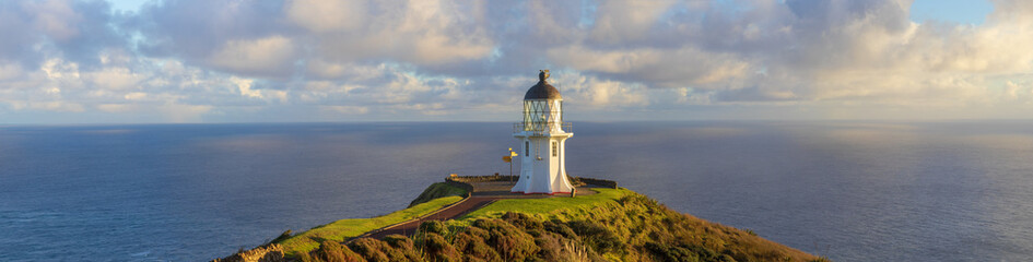 Cape Reinga lighthouse panorama, Pacific ocean, New Zealand