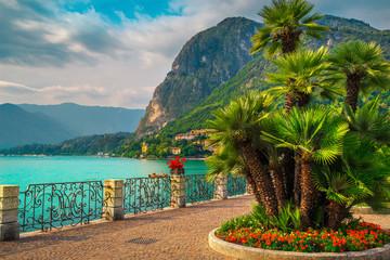 Colorful flowers and beautiful promenade, Lake Como, Menaggio, Lombardy, Italy