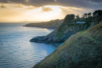 Sunset over the coast of Howth near Dublin in Ireland