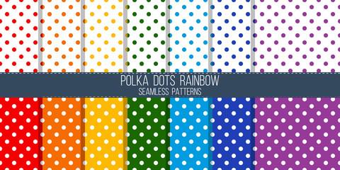 rainbow colored polka dots vector seamless pattern set