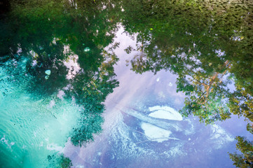 Still morning view of pristine crystal clear springs bubbling up in the sand of a tropical riverbed in Ocala, Florida, USA