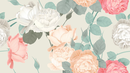 Botanical seamless pattern, roses with leaves on light brown, pastel vintage theme