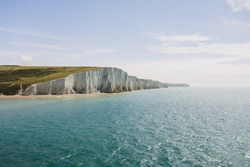 Beautiful shot of the White Cliffs of Dover by the sea