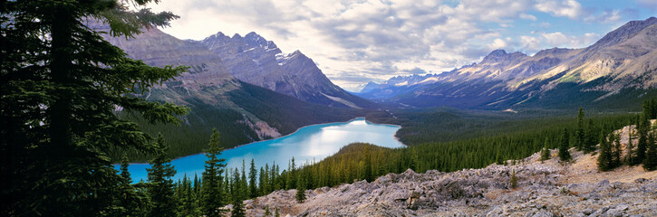 Canada, Alberta, Peyto Lake. Peyto Lake stretches cool blue through Banff NP, a World Heritage Site, Alberta, Canada.