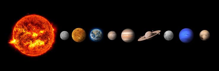 Układ słoneczny składa się ze Słońca, Merkurego, Wenus, Ziemi, Marsa, Jowisza, Saturna, Urana, Neptuna, Plutona. Elementy tego zdjęcia dostarczone przez NASA