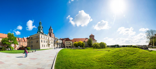 Wawel castle yard with lawn, panoramic view