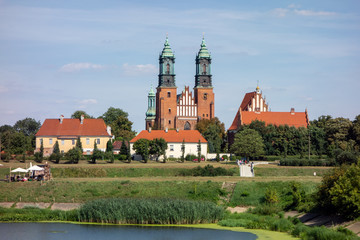 The landscape with the centuries old red brick building of Cathedral of Saint Peter and Paul in Poznan, Poland