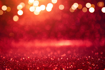 Christmas xmas background red abstract valentine, Red glitter bokeh vintage lights, Happy holiday new year, defocused.