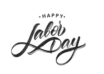 Handwritten textured brush type lettering of Happy Labor Day isolated on white background