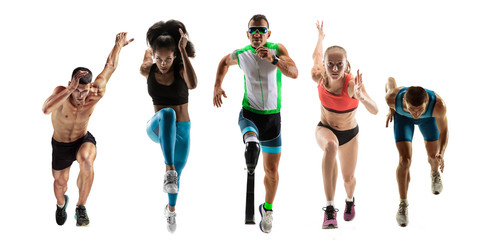 Creative collage of photos of 5 models running and jumping. Ad, sport, healthy lifestyle, motion, activity, movement concept. Male and female sportsmans of different ethnicities. White background.