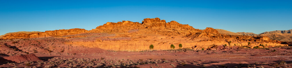 USA, Nevada, Clark County, Gold Butte National Monument. A panorama of the main Navajo sandstone rock block at Little Finland.