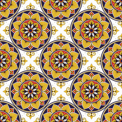 Portuguese tile pattern vector seamless with flowers motifs. Portugal azulejos, mexican talavera, spanish, italian sicily majolica or moroccan ceramic. Texture for wallpaper or kitchen floor.
