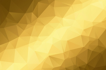 Gold Low poly crystal background. Polygon design pattern. Golden Low poly vector illustration, low polygon background.