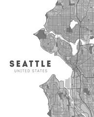 City map Seattle, monochrome detailed plan. Washington
