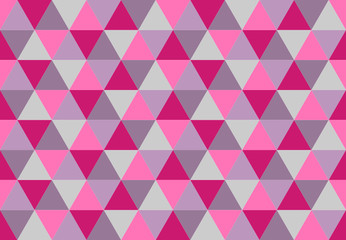 Vivid triangular seamless pattern.Low poly geometric background. Pink, purple, lavender colors. Print design for textile, posters,flyers,T-shirts,wallpapers.Mosaic template made of triangles.Vector