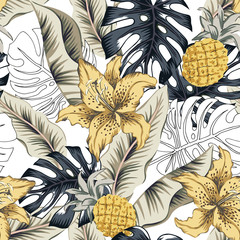 Tropical yellow lily flowers, pineapples, monstera palm leaves, white background. Vector seamless pattern. Jungle foliage illustration. Exotic plants. Summer beach floral design. Paradise nature