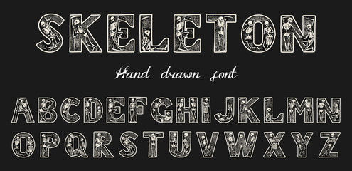 Antique old Font with skeletons for posters Day of the dead. Decorative Gothic alphabet in ancient style. Vintage typeface. Editable and layered monogram. Hand drawn Vector modern letters for banners
