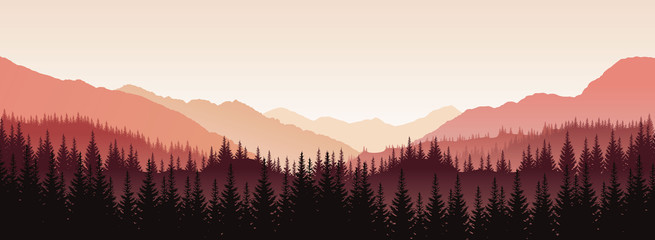 Vector panoramic landscape with red silhouettes of trees and hills