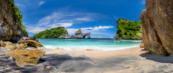 Panorama of paradise tropical beach with small island and perfect azure clean water