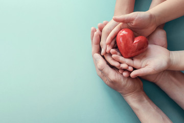 adult and child hands holding red heart on aqua background, heart health, charity volunteer donation, CSR concept, world heart day, world health day, family day, foster care home, organ donor day