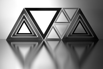 Black and white abstract background with complex composition made of low poly shapes triangles over mirror shiny floor. 3d illustration.