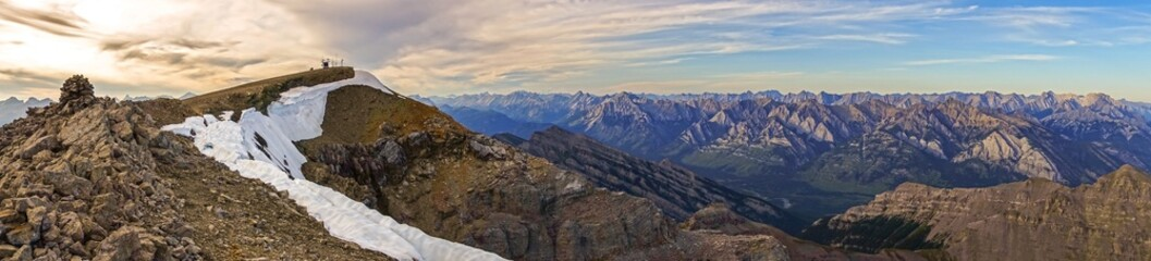 Mountain Top Wide Panoramic Landscape View Dramatic Sunset Sky Distant Peaks Banff National Park Alberta Canada