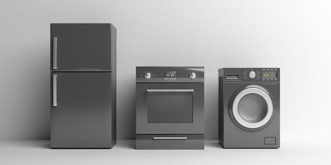 Home appliances set black color on white background. 3d illustration