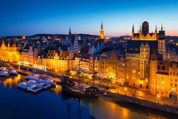 Beautiful architecture of the old town in Gdansk at dusk, Poland.