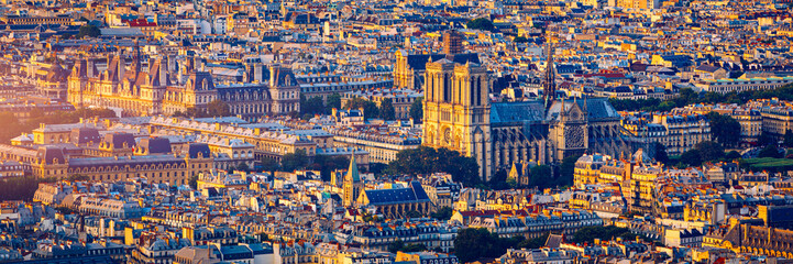 Notre Dame de Paris cathedral, France. Notre Dame de Paris Cathedral, most beautiful Cathedral in Paris. Picturesque sunset over Cathedral of Notre Dame de Paris, destroyed in a fire in 2019, Paris.