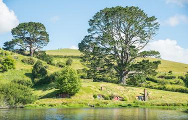 Widok scenerii Matamata, Nowa Zelandia.