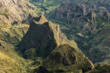 cirque of mafate, highland of the reunion island , view from maïdo summit.