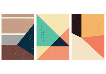 Geometric background with Japanese pattern vector. Blue and brown graphic template. Poster design.