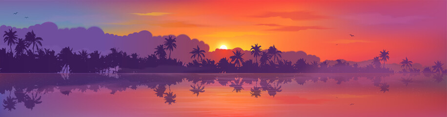 Colorful tropic sunset view to palm trees forest silhouettes with calm ocean water reflection. Vector banner illustration