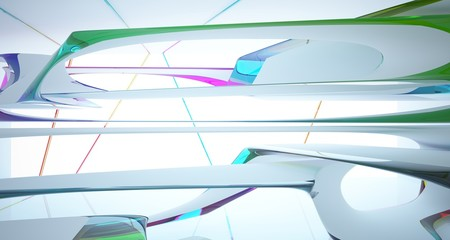 Abstract smooth white and colored gradient glasses interior multilevel public space with window. 3D illustration and rendering.