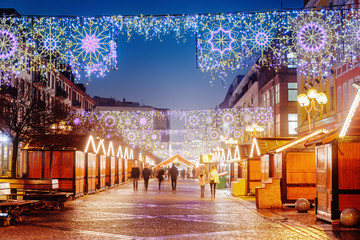 Main Christmas Square in Wroclaw, Polish old city. Christmas time in Europe background. Christmas Markets in December.