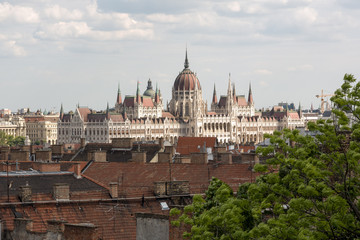 Hungarian Parliament in Budapest, view over the city roofs