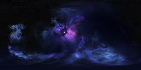 Space nebula, 3D rendering, spherical panorama