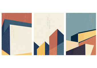 Building template with geometric pattern vector. Japanese background.