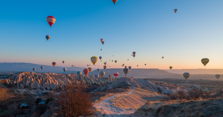 Colorful hot air balloons before launch in Goreme national park, Cappadocia, Turkey
