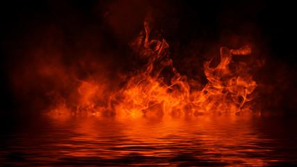 Realistyczny efekt izolowanego ognia do dekoracji i pokrycia na czarnym tle. Pojęcie cząstek, płomienia i światła.